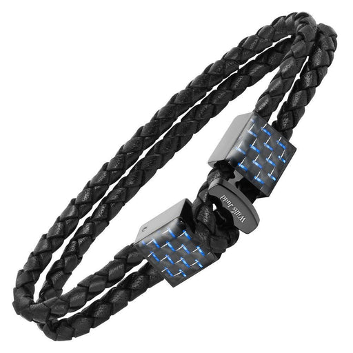 Willis Judd Men's Black Magnetic Leather and Stainless Steel Bracelet with Blue Carbon Fiber Gift Boxed