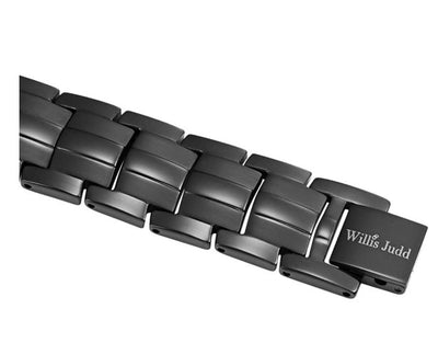 Mens Willis Judd Double Strength 4 Element Titanium Magnetic Therapy Bracelet for Arthritis Pain Relief Black Colour Adjustable