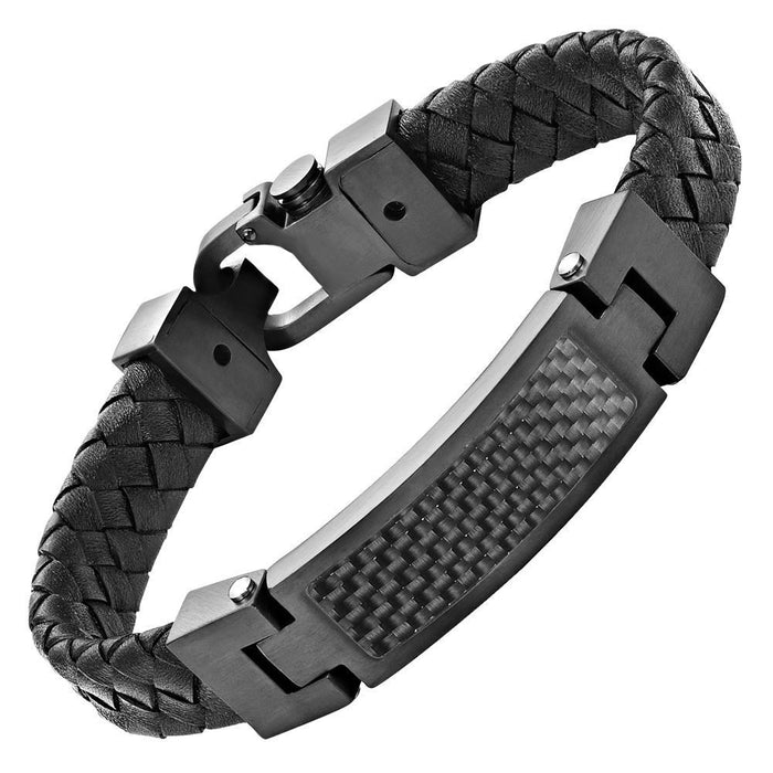 Willis Judd Black Leather Bracelet with Stainless Steel and Black Carbon Fiber Engraved I Love You with Gift Box