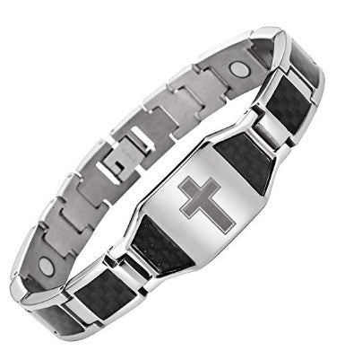 Willis Judd Men's Titanium Magnetic Christian Cross Bracelet with Black Carbon Fiber Insets Adjustable