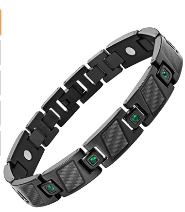 Mens Carbon Fiber Green CZ Titanium Magnetic Bracelet Size Adjusting Tool and Gift Box Included