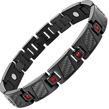 Mens Carbon Fiber Red CZ Titanium Magnetic Bracelet Size Adjusting Tool and Gift Box Included By Willis Judd