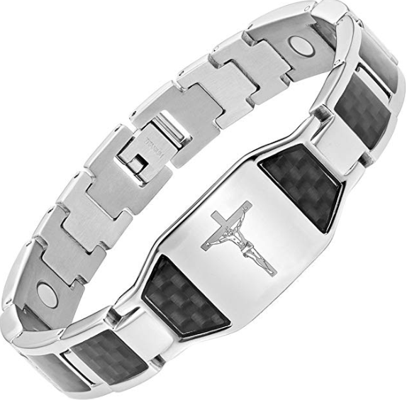 Willis Judd Men's Christian Jesus Crucifix Cross Black Carbon Fiber Titanium Magnetic Bracelet