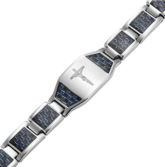 Willis Judd Men's Christian Jesus Crucifix Cross Blue Carbon Fiber Titanium Magnetic Bracelet