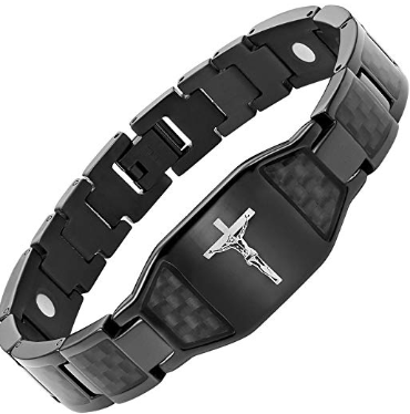 Willis Judd Men's Christian Jesus Crucifix Cross Black Carbon Fiber Titanium Magnetic Bracelet Adjustable