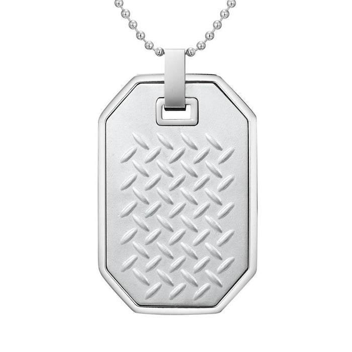 Willis Judd Mens Stainless Steel Checkered Plate Effect Pendant with Necklace and Gift Pouch