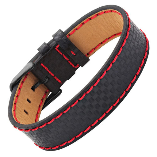 Willis Judd Black Leather Bracelet with Tan Inside and Carbon Fiber Effect and Red Stitching with Gift Box