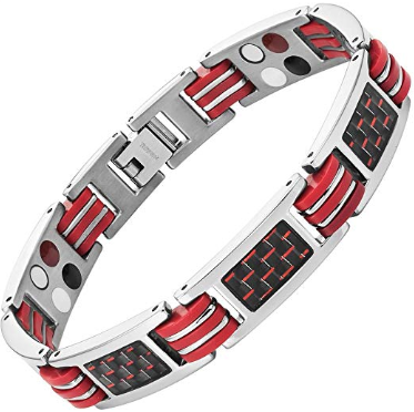 Mens Red Carbon Fiber Titanium Magnetic 4 Element Bracelet Double Strength Adjusting Tool and Gift Box Included By Willis Judd