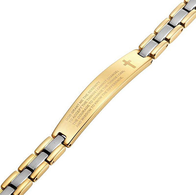 Willis Judd Two Tone Titanium Bracelet Engraved with The Serenity Prayer