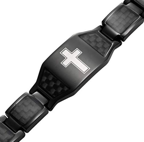 Willis Judd New Mens Black Titanium Magnetic Christian Cross Bracelet with Black Carbon Fiber Insets in Black Velvet Gift Box + Free Link Removal Tool
