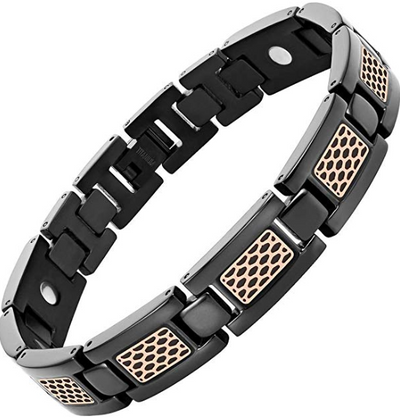 Mens Willis Judd Mens Titanium Magnetic Therapy Bracelet with Rose Honey Comb Size Adjusting Tool & Gift Box Included