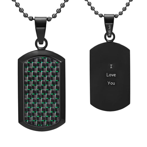 Willis Judd Men's Black Stainless Steel Dog Tag Pendant Engraved I Love You with Green Carbon Fiber and Necklace with Gift Pouch