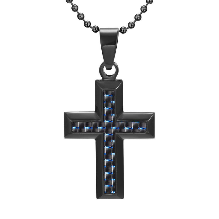 Willis Judd Men's Black Stainless Steel Cross Pendant with Blue Carbon Fiber with Necklace & Gift Pouch