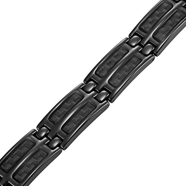 Mens Black Carbon Fiber Titanium Magnetic Bracelet Double Strength