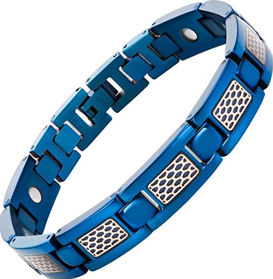 Willis Judd Mens Titanium Magnetic Therapy Bracelet with Honey Comb Size Adjusting Tool & Gift Box Included