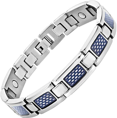 Mens Titanium Magnetic Therapy Bracelet with Blue Honey Comb Size Adjusting Tool & Gift Box Included