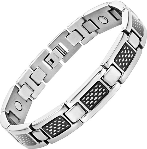 Mens Willis Judd Mens Titanium Magnetic Bracelet with Black Honey Comb Size Adjusting Tool & Gift Box Included
