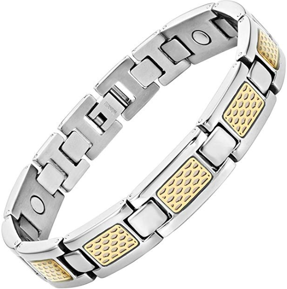 Mens Willis Judd Mens Titanium Magnetic Therapy Bracelet with Gold Tone Detail Size Adjusting Tool & Gift Box Included