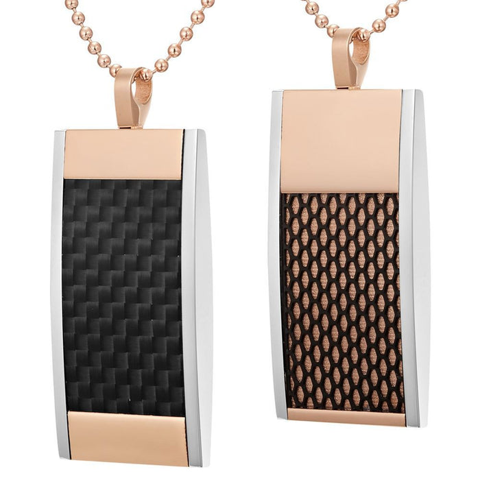 Willis Judd Mens Reversible Tri-Color Stainless Steel Black Carbon Fiber and Honeycomb Pendant with Necklace and Gift Pouch