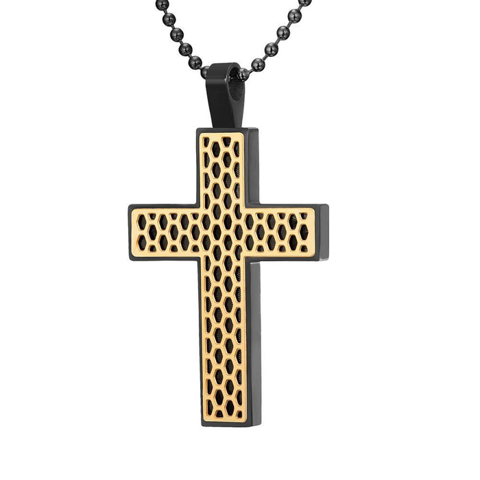 Willis Judd Mens Black Stainless Steel Two-Tone Cross Honey Comb Pendant with Necklace and Gift Pouch