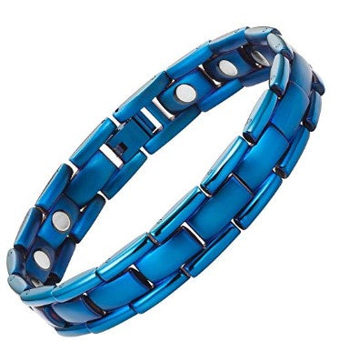 Mens Titanium Magnetic Therapy Bracelet Blue Size Adjusting Tool and Gift Box Included By Willis Judd