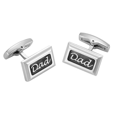 Willis Judd Men's DAD Stainless Steel with Black Carbon FIber Cufflinks with Gift Pouch