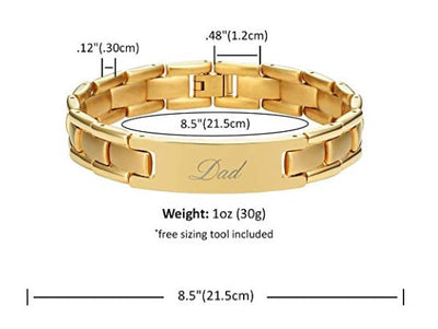 Willis Judd DAD Titanium Bracelet Engraved Best Dad Ever Size Adjusting Tool and Gift Box Included