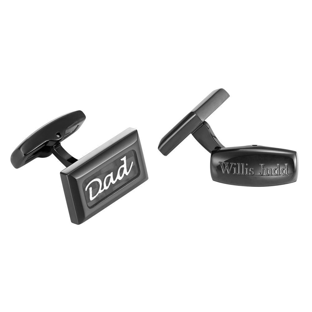 Willis Judd Men's DAD Black Stainless Steel with Black Carbon FIber Cufflinks with Gift Pouch