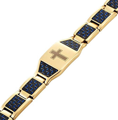 Willis Judd Men's Two Tone Titanium Magnetic Bracelet with Christian Cross and Blue Carbon Fiber