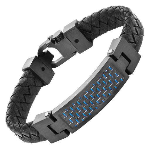 Willis Judd Leather Bracelet with Stainless Steel and Blue Carbon Fiber Engraved I Love You with Gift Box