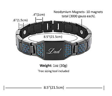 DAD Titanium Magnetic Bracelet with Carbon Fiber Engraved Love You Dad Adjustable Gift Box Included