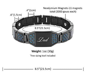 DAD Titanium Magnetic Bracelet with Carbon Fiber Engraved Best Dad Ever Adjustable Gift Box Included