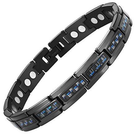 Mens Willis Judd Men's Carbon Fiber Titanium Magnetic Bracelet 8.5inch