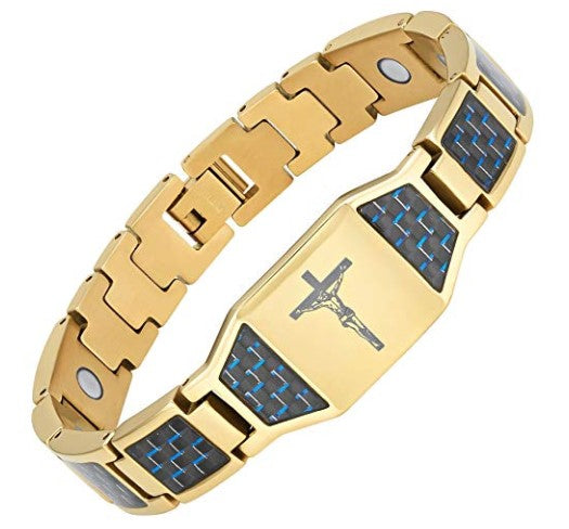 Mens Willis Judd Christian Jesus Crucifix Cross Blue Carbon Fiber Titanium Magnetic Bracelet with Gift Box and Link Adjuster Tool