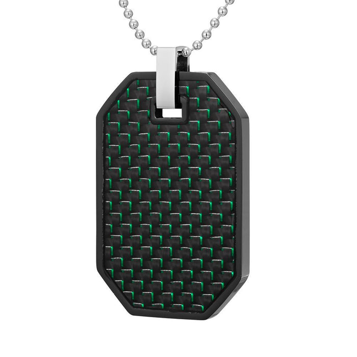 Willis Judd Mens Reversible Black Stainless Steel Green Carbon Fiber and Checker Plate Effect Pendant with Necklace and Gift Pouch