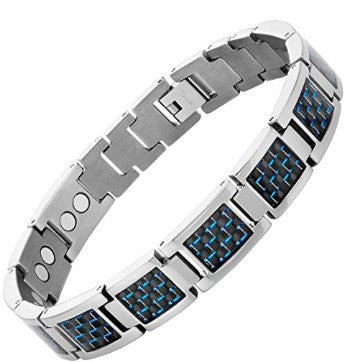 Mens Blue Carbon Fiber Titanium Magnetic Bracelet Adjustable By Willis Judd