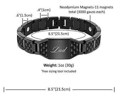 Willis Judd DAD Titanium Magnetic Bracelet with Carbon Fiber Engraved Love You Dad Adjustable Gift Box Included