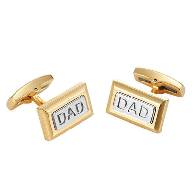 Willis Judd Men's DAD Two Tone Stainless Steel Cufflinks with Gift Pouch
