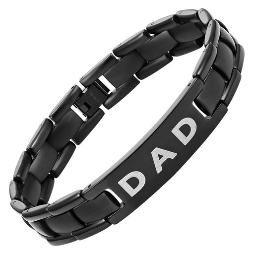 Willis Judd Mens Black Titanium DAD Bracelet Engraved Love You Dad with Gift Box & Link Removal Tool