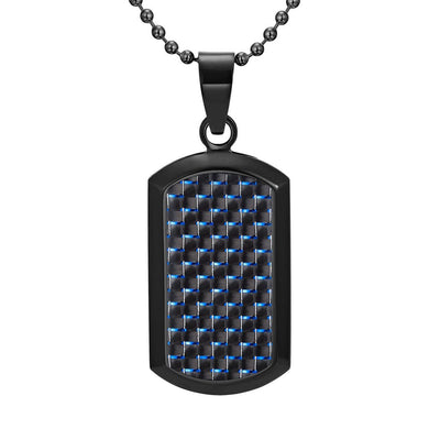 Willis Judd Men's Black Stainless Steel Dog Tag Pendant Engraved Love You Dad with Blue Carbon Fiber and Necklace with Gift Pouch