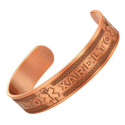 Agneti Xarelto Pure Copper Medical Alert ID Bangle Bracelet for Men and Women with Free Medical Card …