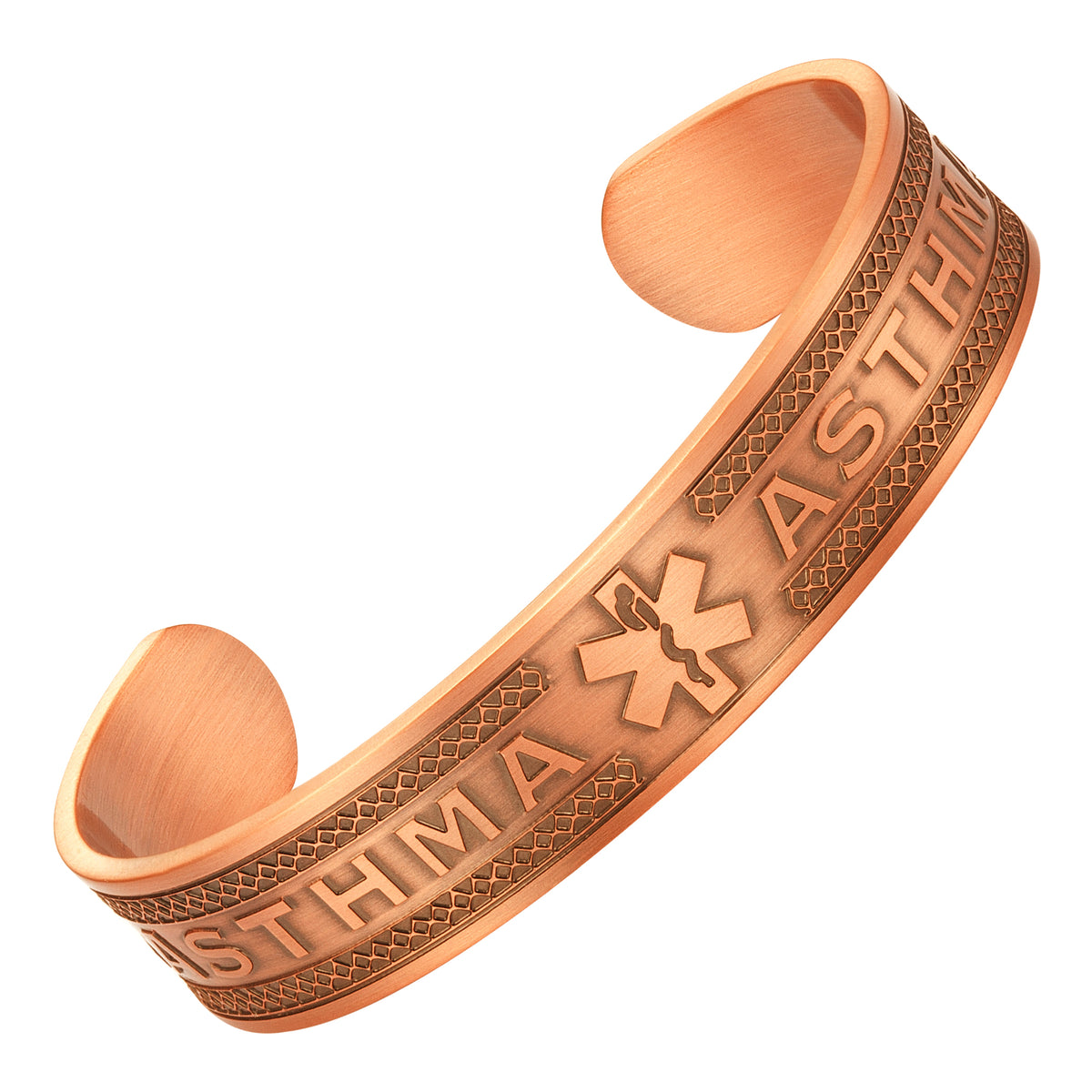 Agneti Asthma Pure Copper Medical Alert ID Bangle Bracelet