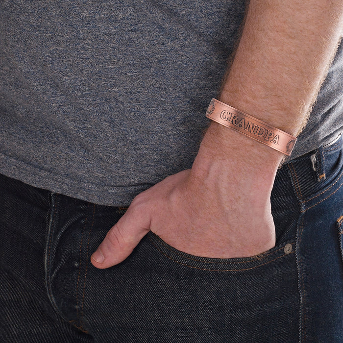 Mens GRANDPA Pure Copper Magnetic Bangle Bracele