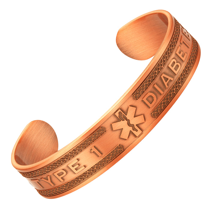 Agneti Type 1 Diabetes Pure Copper Medical Alert ID Bangle Bracelet