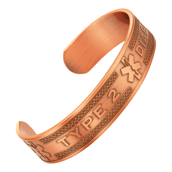 Agneti Type 2 Diabetes Pure Copper Medical Alert ID Bangle Bracelet