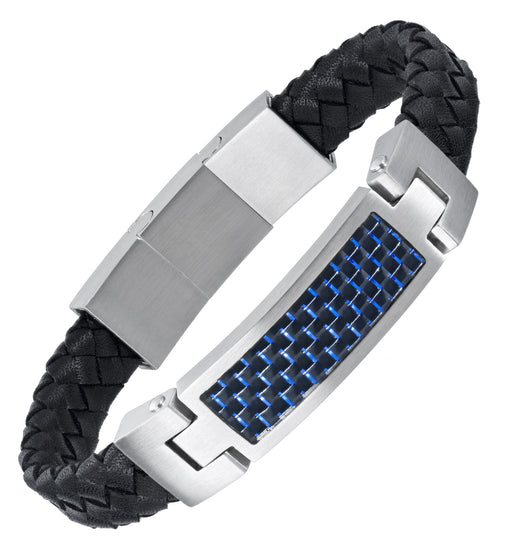 Leather Bracelet with Blue Carbon Fibre engraved Best Dad Ever
