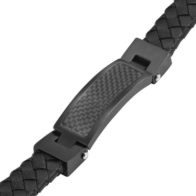 Leather Bracelet with Carbon Fibre engraved Best Dad Ever