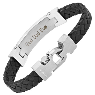 DAD Leather Bracelet with Blue Carbon Fiber Engraved Best Dad Ever