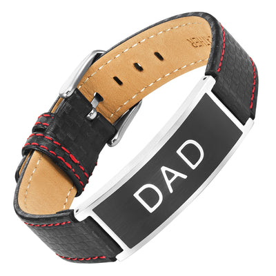 Mens DAD Carbon Leather Bracelet engraved Love You Dad
