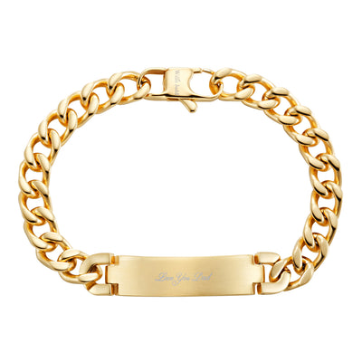 DAD Stainless Steel Gold ID Bracelet Engraved Love You Dad